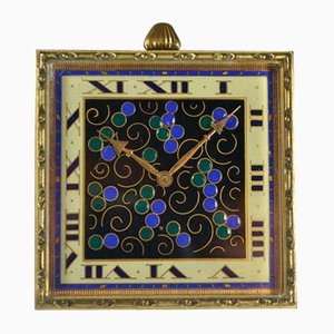 Art Deco Enameled Travel Clock, 1930s