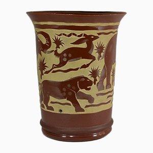 Braune Savannah Vase von Roger Mequinion, 1940er
