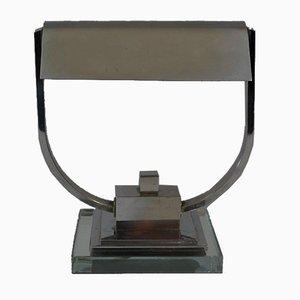 Vernickelte Art Deco Lampe von Jacques Adnet, 1930er