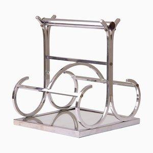 Portabotellas francés Art Déco bañado en cromo de Jacques Adnet para Adnet, años 30