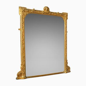 Antique Italian Gilt Overmantel Mirror, 1850s