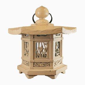 Antique Chinese Cedar Ceiling Lantern Lamp, 1880s