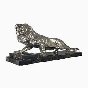 Silver Plated Bronze Lion from De Marco, 1930s