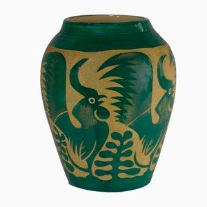 Grüne Vase mit Hahnen-Motiv von Roger Mequinion, 1940er