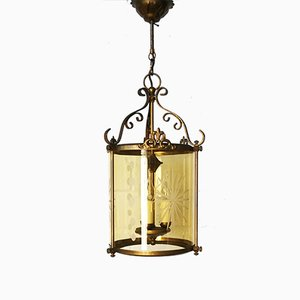 German Antiqued Glass and Brass Hanging Lamp, 1960s
