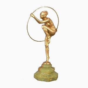 Tänzerin mit Reifen aus Bronze von Louis Alliot, 1930er