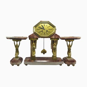 Vintage Gilded Bronze Clock, 1920s