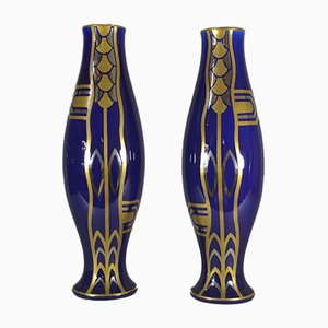 Art Deco Vases by Gustave Asch for Saint Radegonde, 1930s, Set of 2