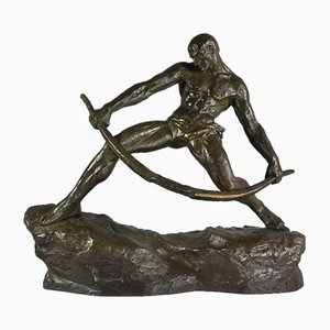 Vintage Man Bending a Bow Bronze Sculpture by Pierre Le Faguays