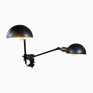Lámpara de pared doble industrial de OC White, años 20