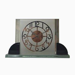 Große moderne verspiegelte Art Deco Uhr aus Glas