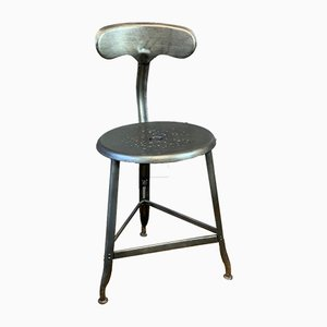 Industrial French Iron Tripod Bar Stools by Chaises Nicolle for Nicolle, 1919, Set of 2