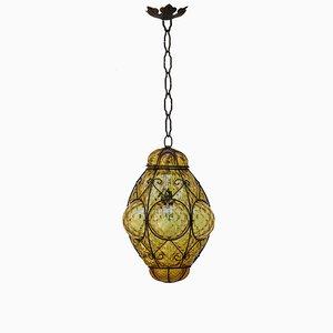 Lámpara colgante italiana de cristal burbuja de cristal de Murano de Seguso, años 60