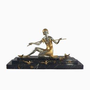 Art Deco Bronze Sculpture of a Woman by Z. Kovats