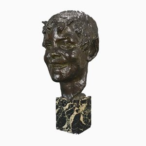 Vintage Bronze Faun Bust Head by Germaine Oury