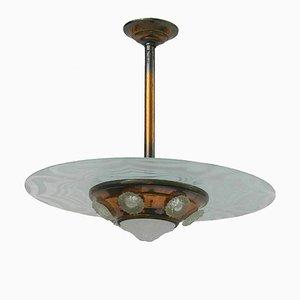 Lampada da soffitto Art Déco in rame e vetro, anni '30