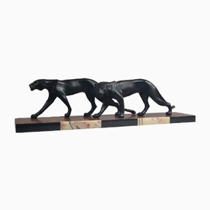 Vintage Art Deco Sculpture of Two Panthers by M. Font