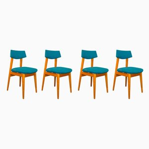 Scandinavian Ash Dining Chairs, 1950s, Set of 4