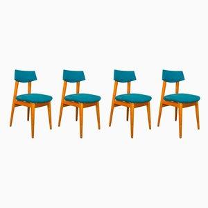 Skandinavische Esszimmerstühle aus Eschenholz , 1950er, 4er Set