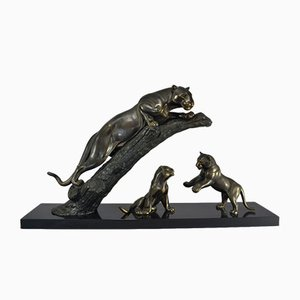 Panther with Cubs Sculpture from Leducq, 1930s
