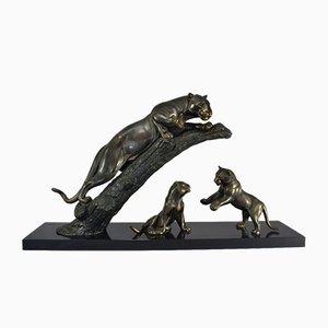 Skulptur in Panther-mit-Jungen-Optik von Leducq, 1930er