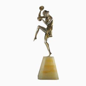 Tänzerin mit Becken aus Bronze von Pierre Le Faguays, 1930er