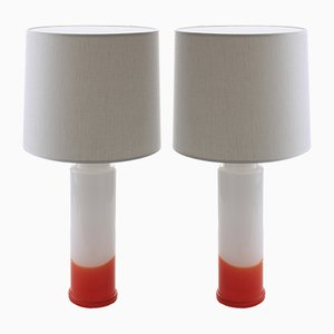 Scandinavian Modern White & Red Table Lamps by Uno & Östen Kristiansson for Luxus, 1968, Set of 2