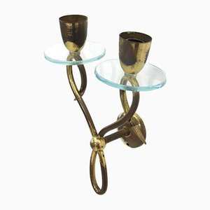 Mid-Century Italian Brass and Glass Sconces, 1950s, Set of 2