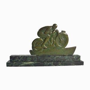 Sculpture de Moto en Bronze par Edouard Fraisse, 1930s