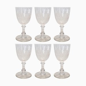 Antique Palmettos Model 6073 Crystal White Wine Glasses from Baccarat, Set of 6