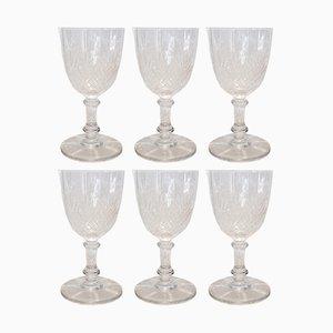 Verres à Vin Blanc Modèle Palmettes 6073 Antiques en Cristal de Baccarat, Set de 6