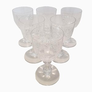 Art Nouveau French Crystal Port Glasses from Baccarat, 1910s, Set of 6