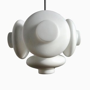 Mid-Century Modern Milk Glass Chandelier from Napako, 1960s