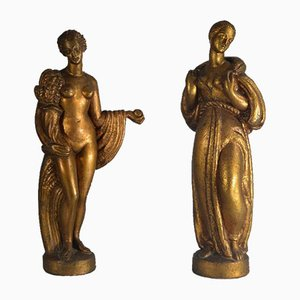 Italian Art Deco Figurines from Pasquale Sgandurra, 1920s, Set of 2
