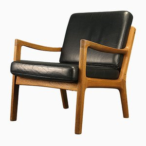 Danish Teak & Leather Easy Chair by Ole Wanscher for France & Søn, 1970s