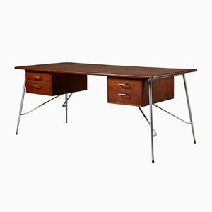 Mid-Century Danish Model 202 Teak Desk by Börge Mogensen for Söborg Furniture Factory, 1953
