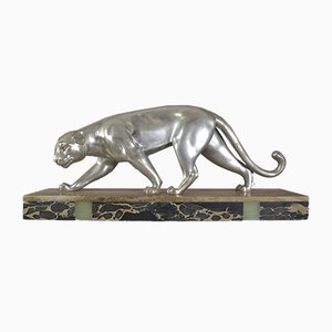 Art Deco Silver Metal Panther from Dumy, 1930s