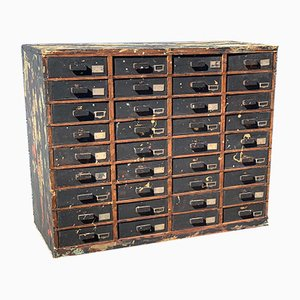 Vintage Industrial French Pine Bank of Drawers, 1930s