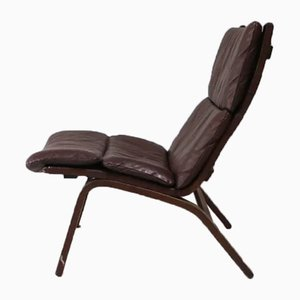 Danish Beech & Leather Lounge Chair from Farstrup Møbler, 1970s
