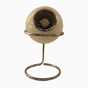 Lámpara de mesa italiana de vidrio opalino, años 70