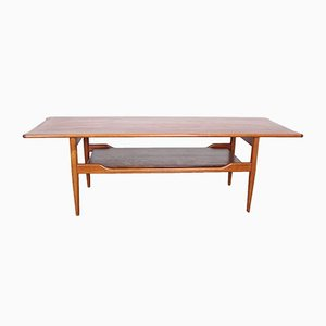 Table Basse à 2 Niveaux Mid-Century en Placage de Teck, Danemark, 1960s