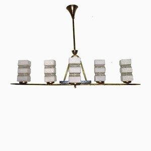 Französische Hängelampe aus Messing & Milchglas von Maison Arlus, 1950er