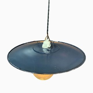 Industrial Enameled Iron Pendant Lamp, 1920s