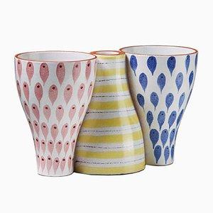Vasi in ceramica di Stig Lindberg per Gustavsberg, Svezia, anni '50, set di 3