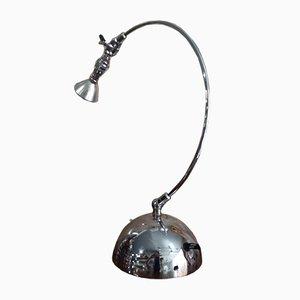 Lampada da tavolo industriale in acciaio di Andrea Bastianello per Disegnoluce, Italia, anni '80