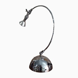 Lámpara de mesa italiana industrial de acero de Andrea Bastianello para Disegnoluce, años 80