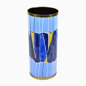 Vintage Italian Enameled Metal Umbrella Stand from SIVA Poggibonsi, 1950s