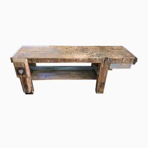 Französischer industrieller Werktisch aus Eichenholz & Tannenholz, 1950er