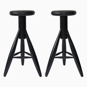 Black Lacquered Oak Stools by Eero Aarnio, 1990s, Set of 2