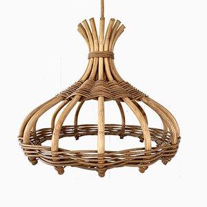 Lampada da soffitto in vimini e bambù di Leola, anni '70